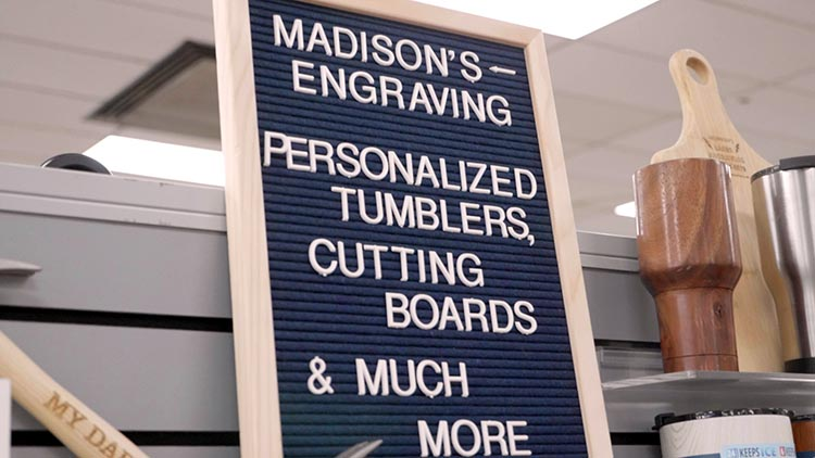 Madison's Laser Engraving endcap display in Mark's Machinery and More