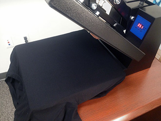 Heat press for the laser applique.