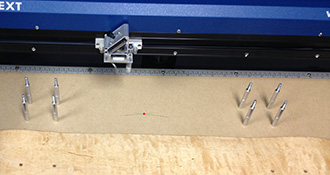 Skateboard jig in the laser.