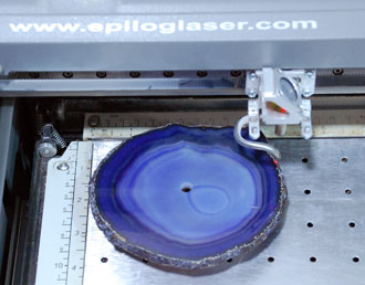 Agate candle in the laser.
